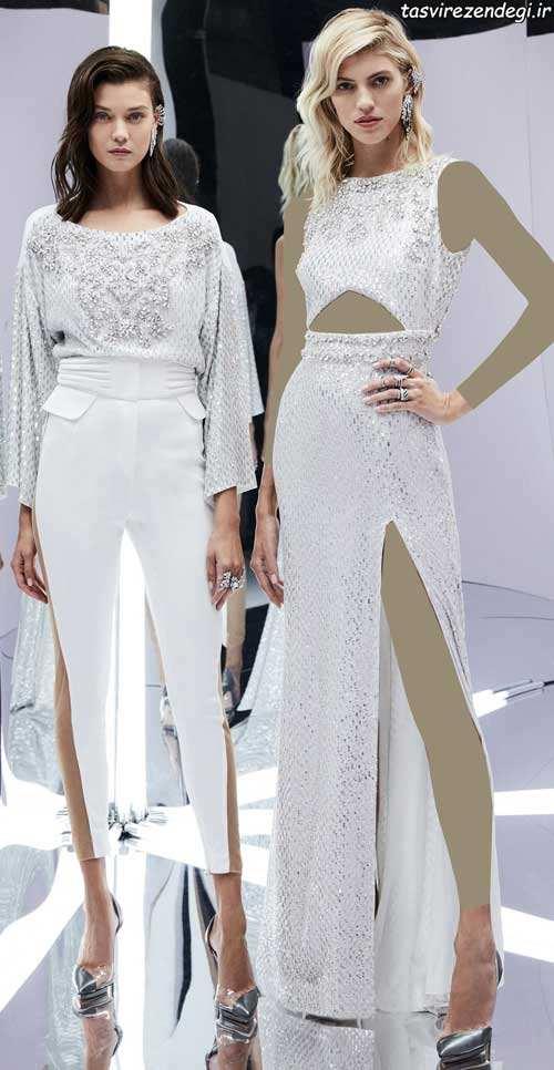 مدل لباس مجلسی زنانه رنگ سفید