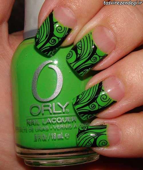 طراحی ناخن به رنگ سبز