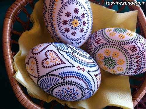 نقطه کوبی روی تخم مرغ,تزیین تخم مرغ هفت سین