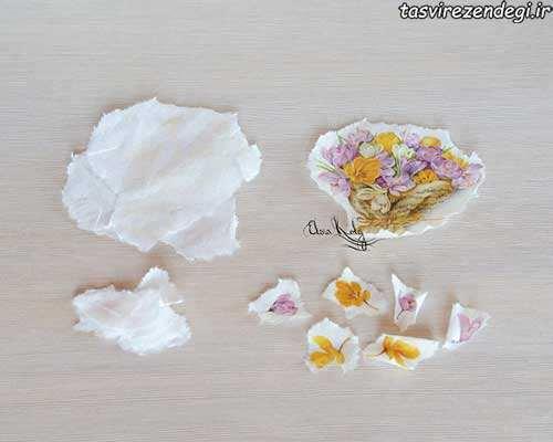 تزیین گلدان با نما فسیل,دکوپاژ پوست تخم مرغ