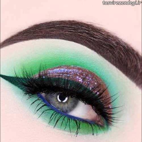 خط چشم و سایه چشم سبز