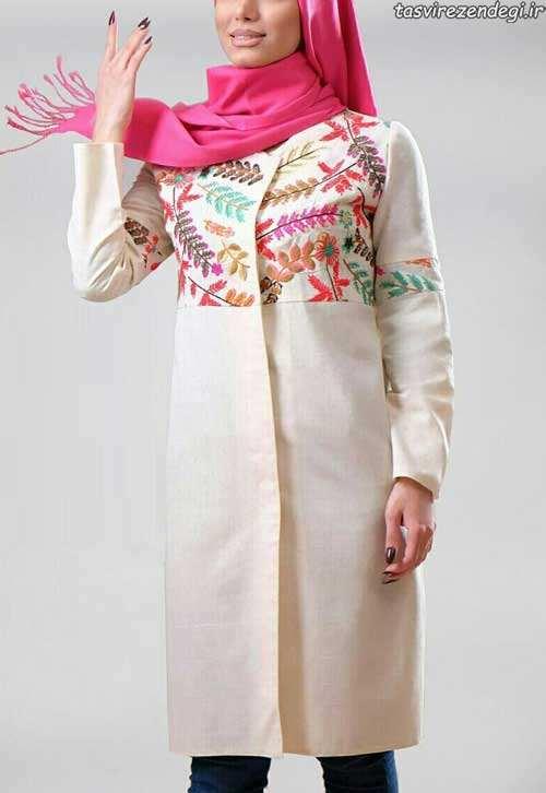 مدل مانتو بهاری  , مدل مانتو عید طرح سنتی سال 96 - 2017 مانتو بهاری جدید شیک با رنگ های زیبا