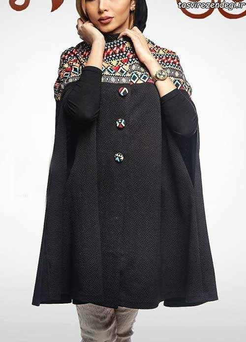 مدل مانتو بهاری , مدل مانتو عید مشکی بهاری با طرح سنتی دخترانه و زنانه سال 96 - 2017