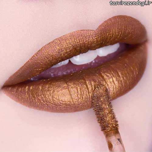 مدل آرایش لب طلایی اکلیلی