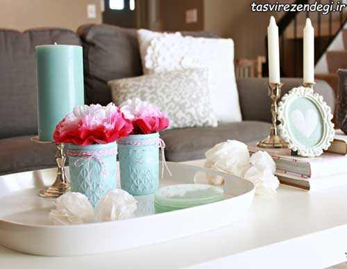 تزئین گلدان های شیشه ای