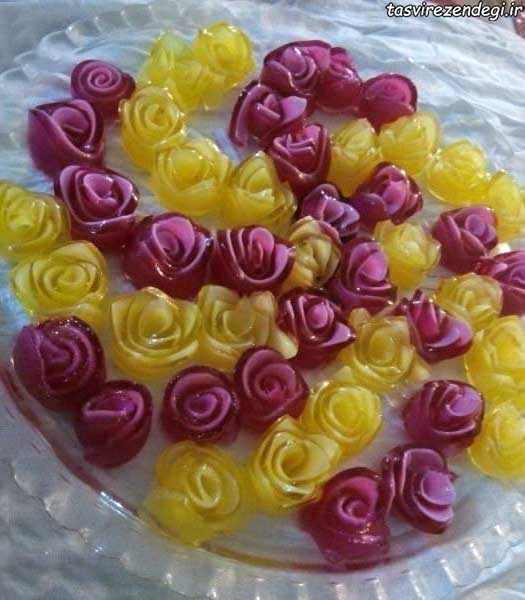 طرز تهیه ژله رولی گل رز دو رنگ