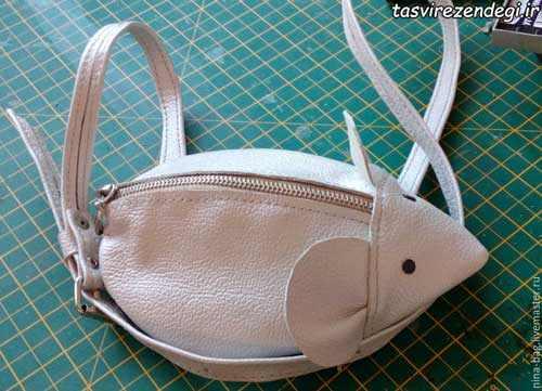 آموزش دوخت کیف چرمی به شکل موش