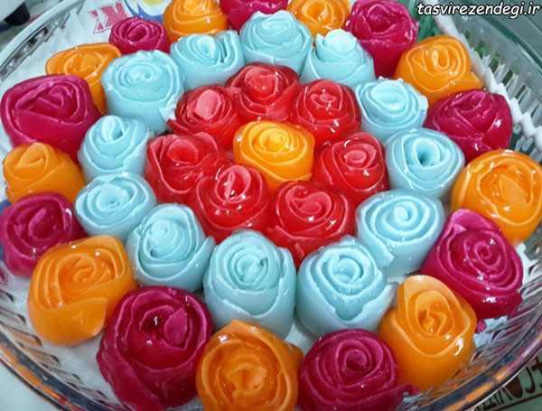 نمد دوزی روی مانتو طرز تهیه ژله رولی گل رز