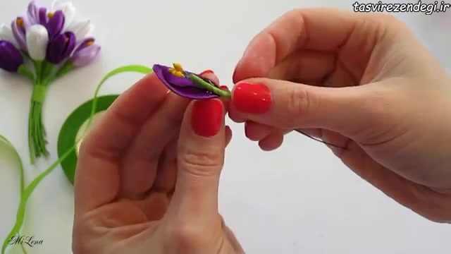 ساخت گل زعفران با روبان , آموزش گلسازی