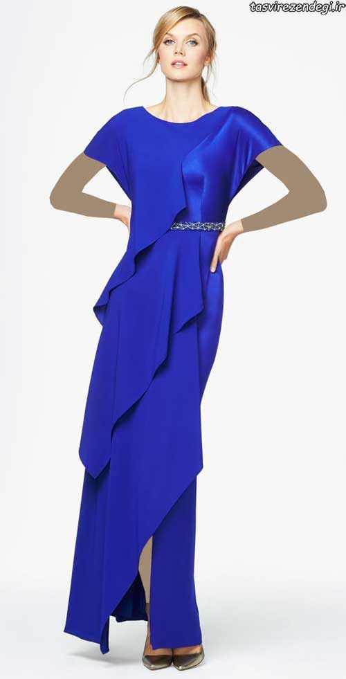 لباس مجلسی کوتاه آبی کاربنی جدیدترین مدلهای پیراهن مجلسی برند daymor - دلخوشی ها