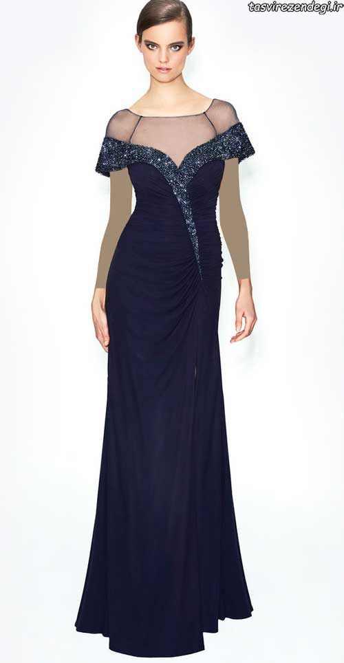 مدل لباس شب جدید ,مدل لباس مجلسی سرمه ای