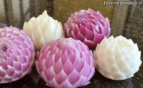 تزئین پیاز به شکل گل