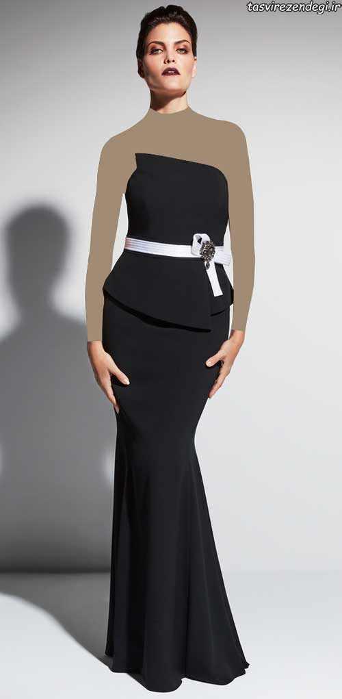 مدل لباس مجلسی دکلته مشکی