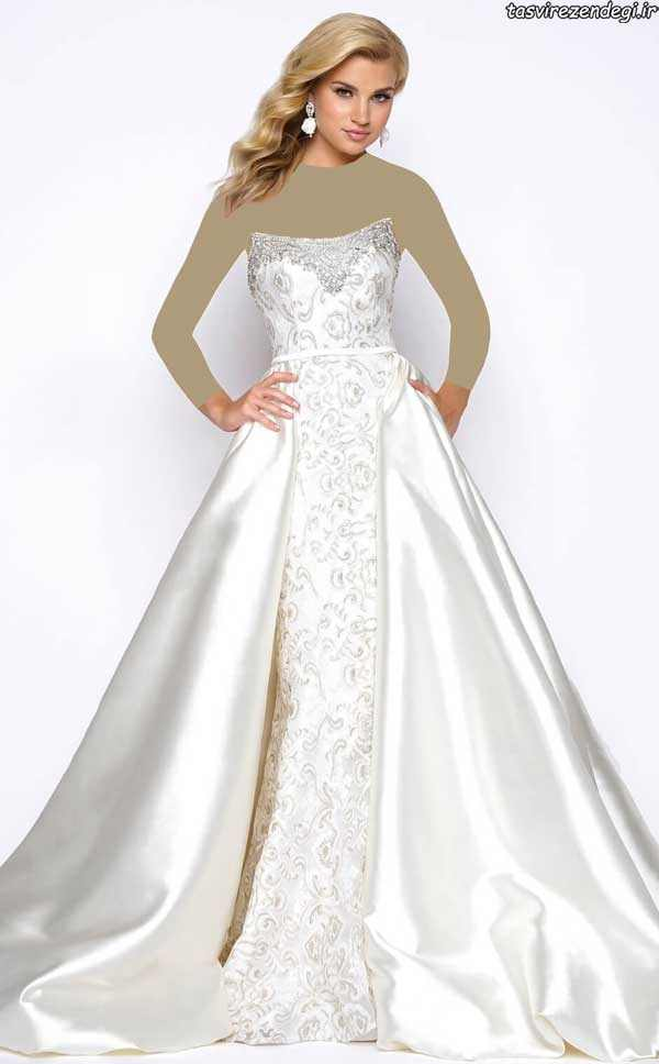 مدل لباس عروس , مدل لباس نامزدی دکلته سفید