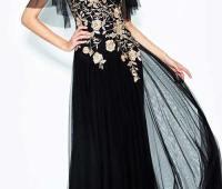 مدل لباس مجلسی گیپور مشکی و طلایی