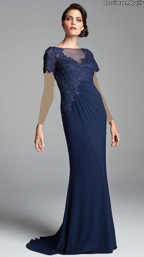 مدل لباس مجلسی گیپور آبی تیره