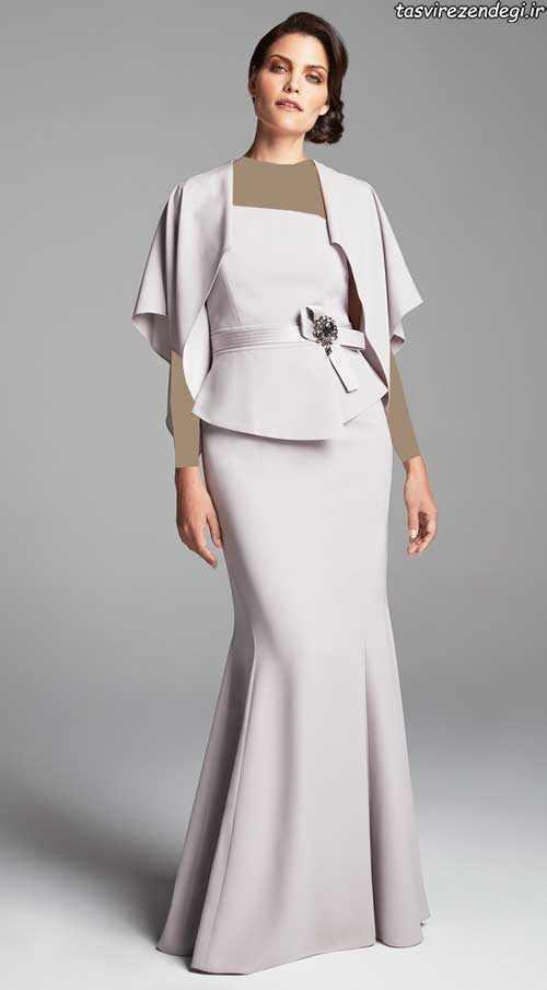 مدل لباس مجلسی بلند جدید شنل دار