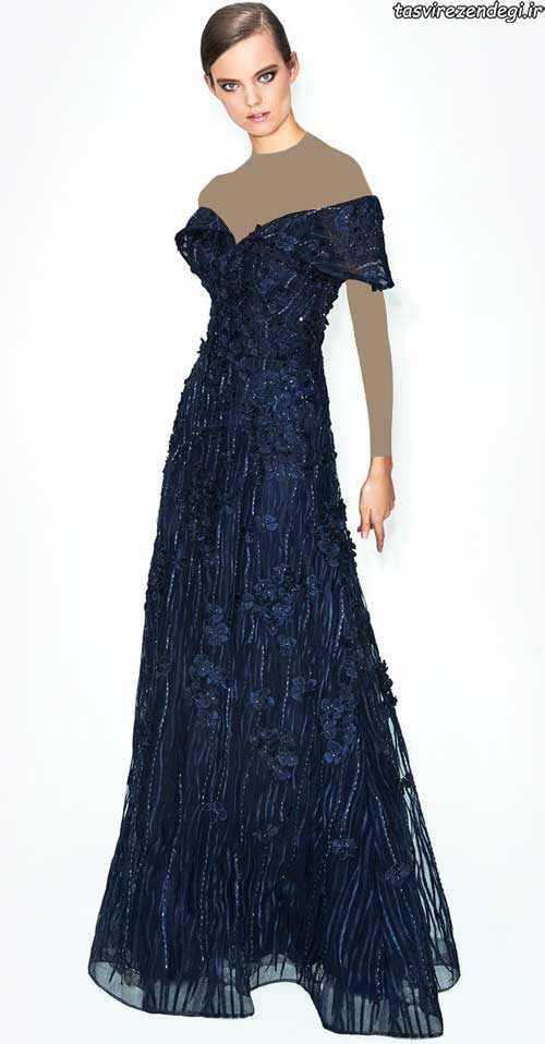 مدل لباس شب تور گیپور ,مدل لباس مجلسی سرمه ای
