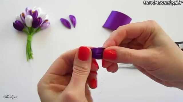 دانلود فیلم گلسازی , آموزش ساخت گل زعفران با روبان