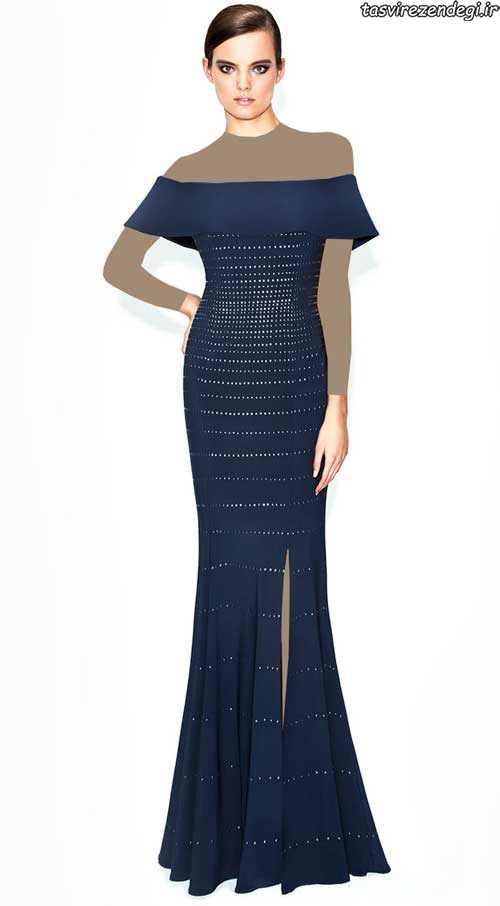 مدل لباس مجلسی سرمه ای , مدل لباس شب 2017