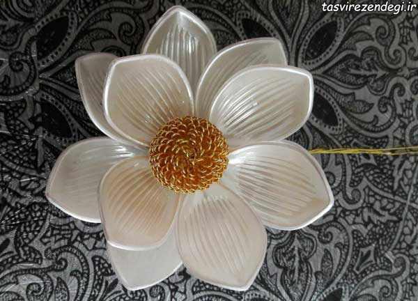 آموزش تزیین جا دستمال کاغذی با گل کریستالی عکس نمونه