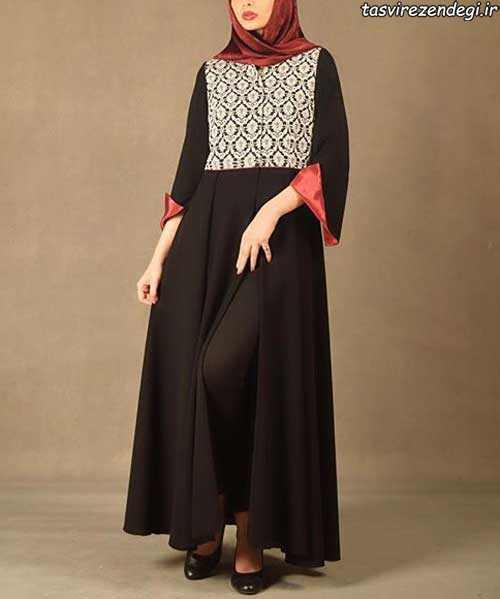 مدل مانتو مجلسی سنتی بلند مشکی