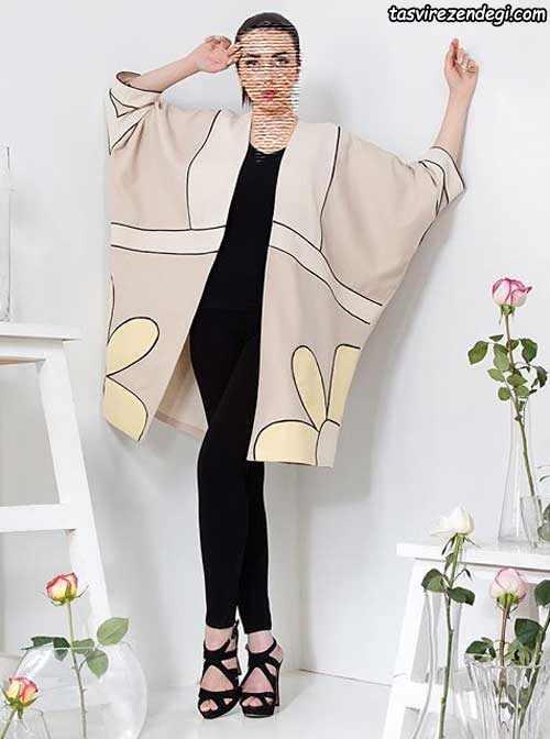 مدل مانتو بهاری دخترانه کیمونو جلو باز مجلسی