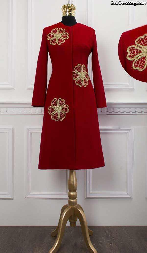 مدل مانتو مجلسی قرمز گلدوزی طلایی
