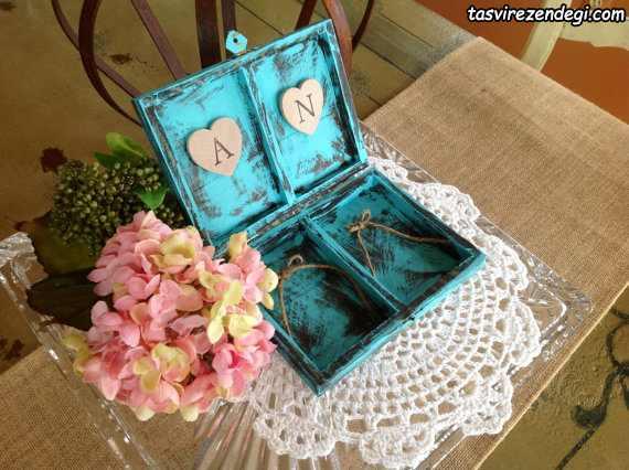 جا حلقه ای عروس داماد به شکل جعبه