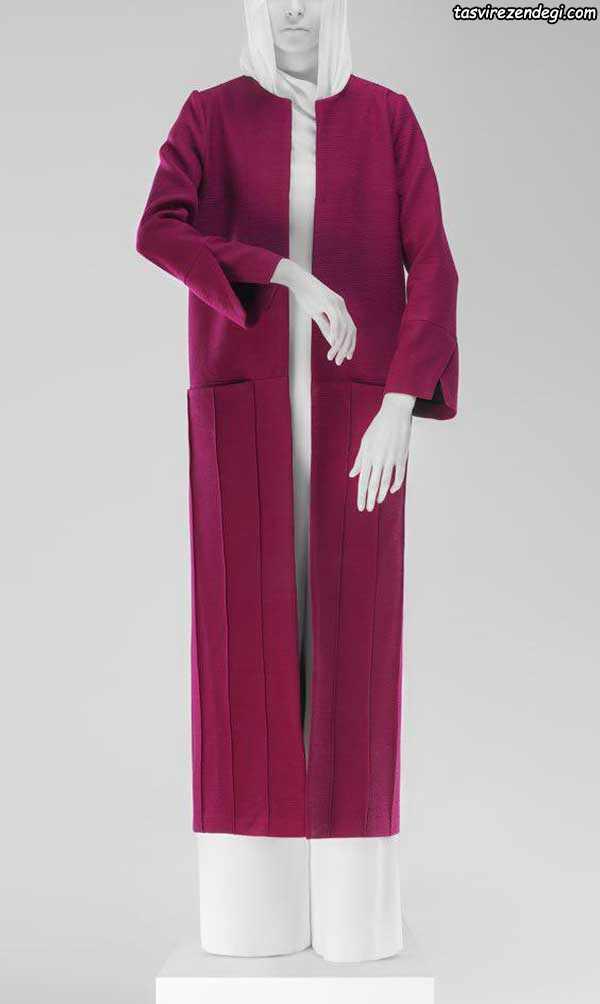 مدل مانتو تابستانی بلند زرشکی
