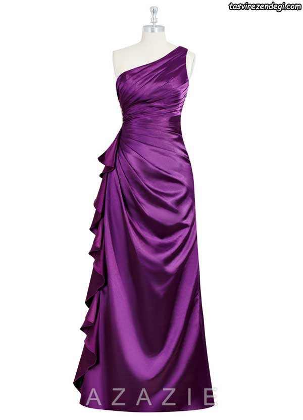 لباس مجلسی یقه رومی بلند بنفش