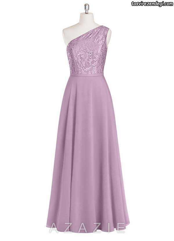مدل لباس مجلسی یقه رومی بلند یاسی