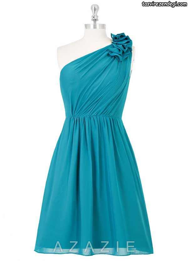 مدل لباس مجلسی یقه رومی کوتاه شیک
