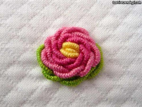 آموزش دوخت گل رز با کوک شمشی
