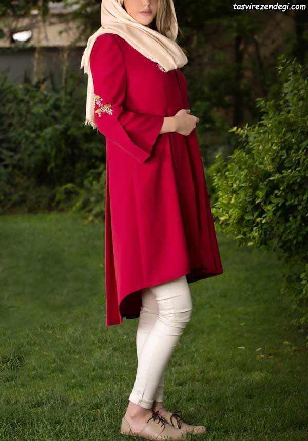 مدل مانتو مجلسی قرمز دخترانه