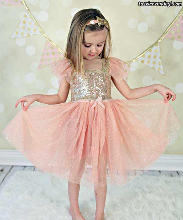 مدل لباس مجلسی پرنسسی تور, لباس مجلسی صورتی دخترانه