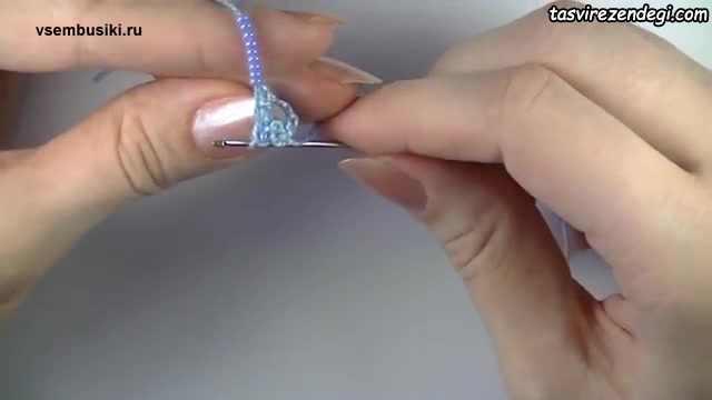 آموزش بافت دستبند با قلاب و مهره, مهره بافی