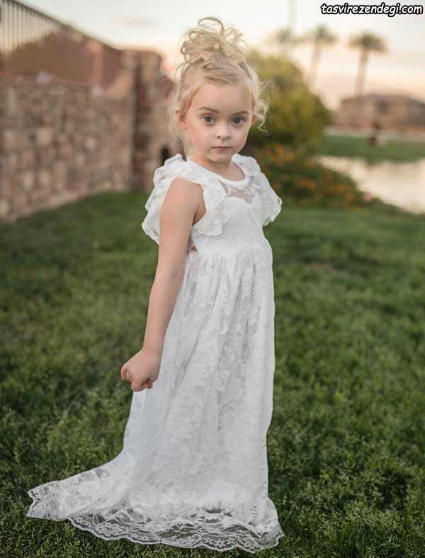 مدل لباس عروس بچه گانه , لباس مجلسی سفید بچگانه