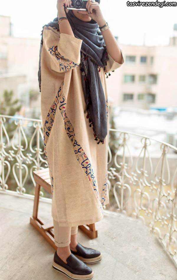 مدل مانتو تابستانه نخی, مانتو کیمونو دخترانه بلند
