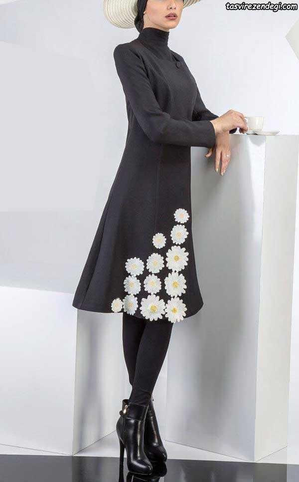 مدل مانتو مجلسی مشکی با گل سفید