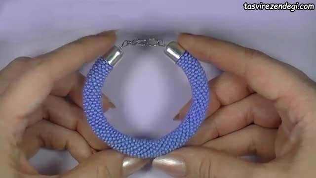 آموزش بافت دستبند ساده با منجوق و قلاب