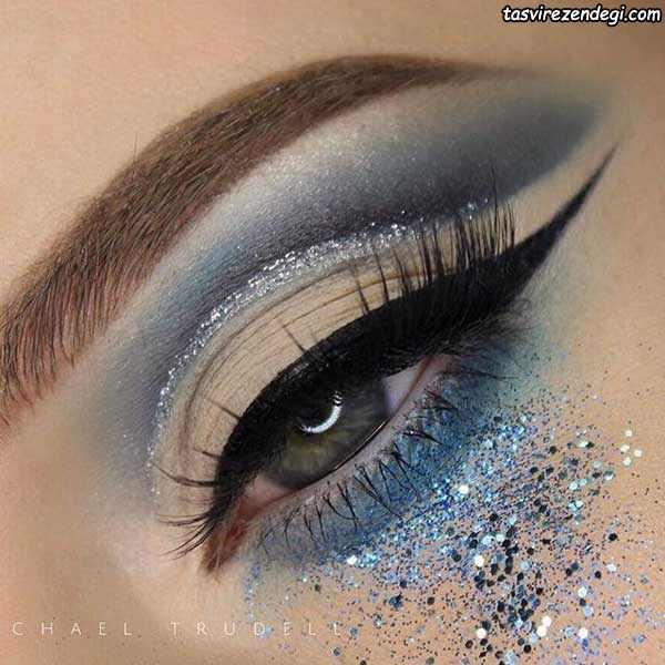 آرایش چشم سایه اکلیلی آبی