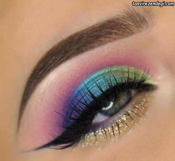 آرایش چشم رنگین کمانی