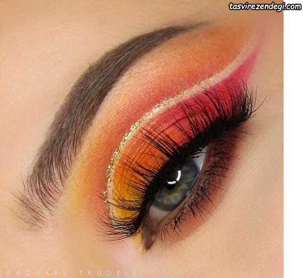 آرایش چشم رنگی زیبا