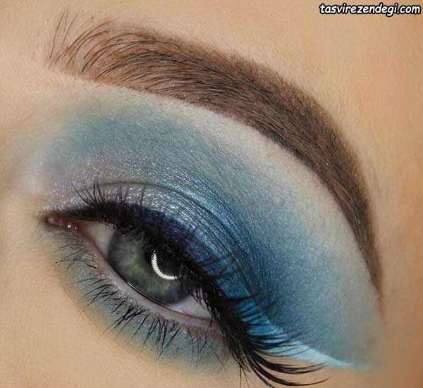 مدل میکاپ چشم سایه آبی