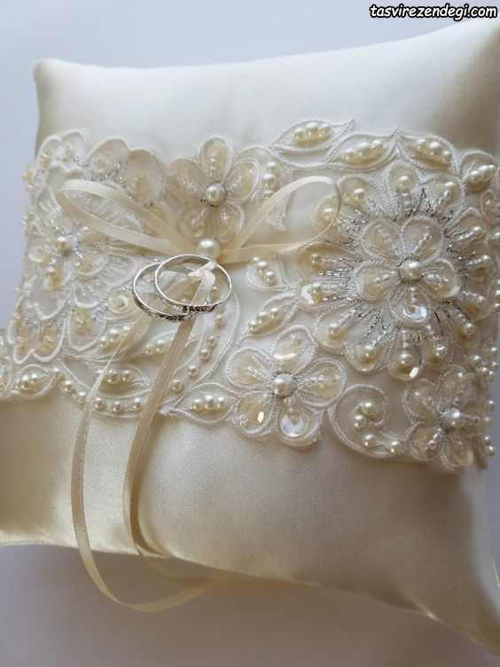 تزیین بالشتک حلقه عروس و داماد