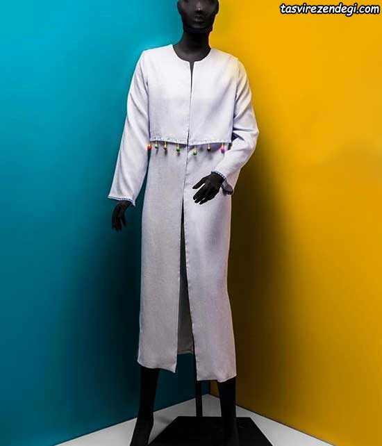 مدل مانتو بلند تابستانی سفید