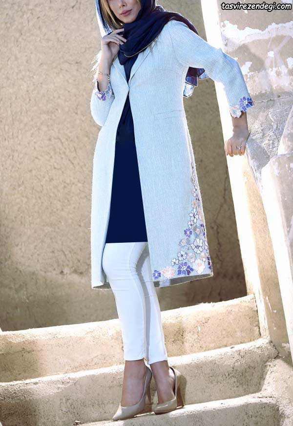 مدل مانتو مجلسی سفید جلو باز