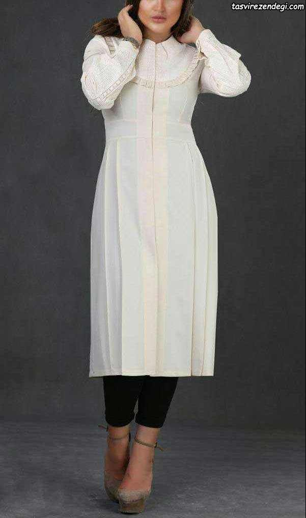 مدل مانتو ترک تابستانی بلند سفید