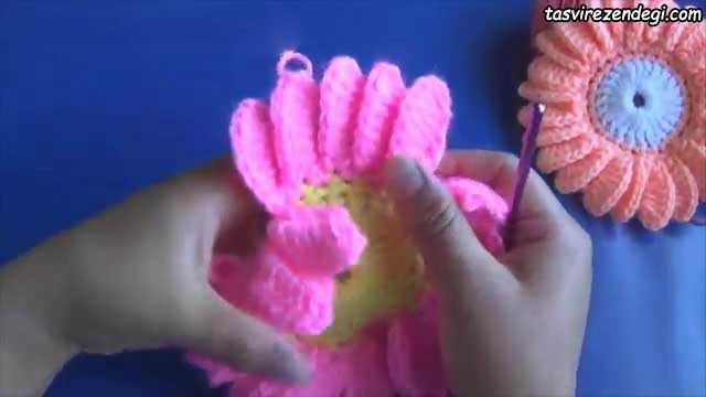 آموزش بافت گل آفتابگردان,آموزش قلاب بافی